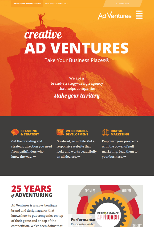 ad ventures web design screenshot