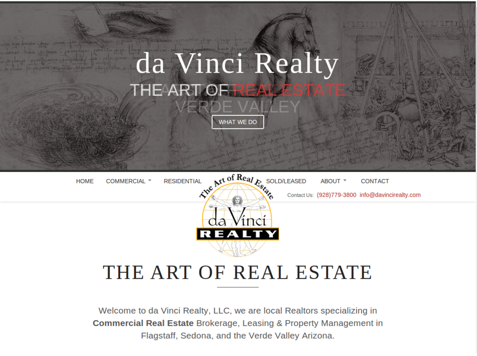 davinci realty web design screenshot