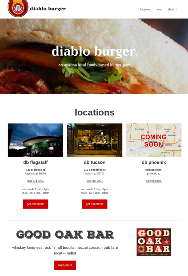 diablo burger web design screenshot