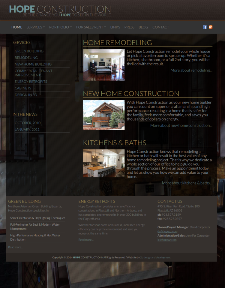 Hope Construction web design screenshot